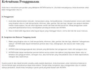Ketentuan Pengguna Antaranews